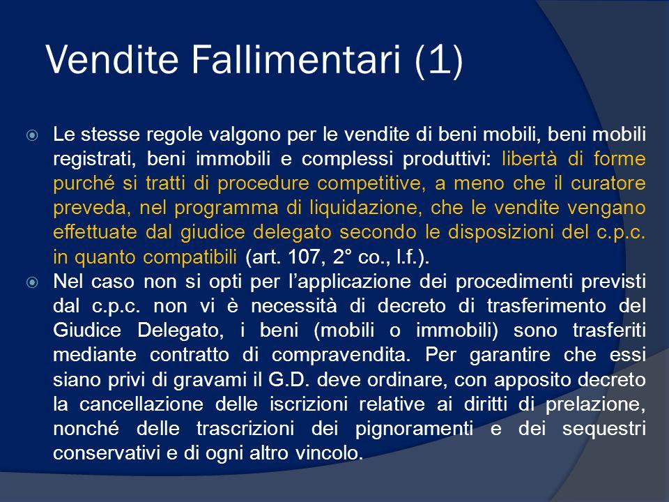 Vendite Fallimentari (1)  Le stesse regole valgono per le vendite di beni mobili, beni mobili registrati, beni immobili e complessi produttivi: liber