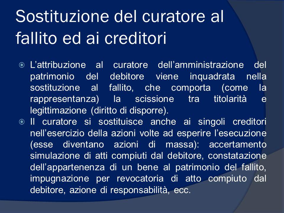 Sostituzione del curatore al fallito ed ai creditori  L'attribuzione al curatore dell'amministrazione del patrimonio del debitore viene inquadrata ne