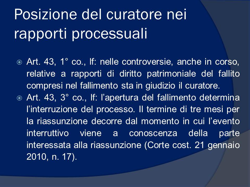 Posizione del curatore nei rapporti processuali  Art. 43, 1° co., lf: nelle controversie, anche in corso, relative a rapporti di diritto patrimoniale