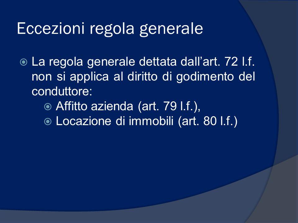 Eccezioni regola generale  La regola generale dettata dall'art. 72 l.f. non si applica al diritto di godimento del conduttore:  Affitto azienda (art