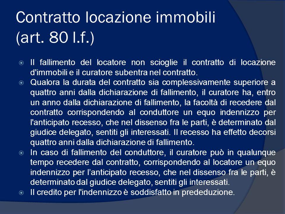 Contratto locazione immobili (art. 80 l.f.)  Il fallimento del locatore non scioglie il contratto di locazione d'immobili e il curatore subentra nel