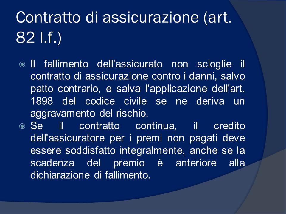 Contratto di assicurazione (art. 82 l.f.)  Il fallimento dell'assicurato non scioglie il contratto di assicurazione contro i danni, salvo patto contr