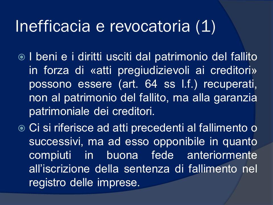 Inefficacia e revocatoria (1)  I beni e i diritti usciti dal patrimonio del fallito in forza di «atti pregiudizievoli ai creditori» possono essere (a