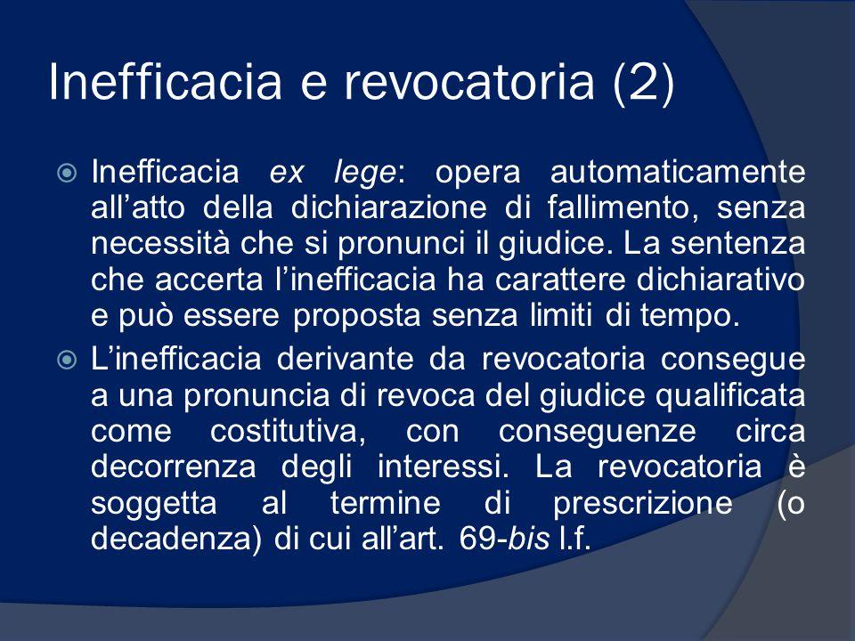 Inefficacia e revocatoria (2)  Inefficacia ex lege: opera automaticamente all'atto della dichiarazione di fallimento, senza necessità che si pronunci