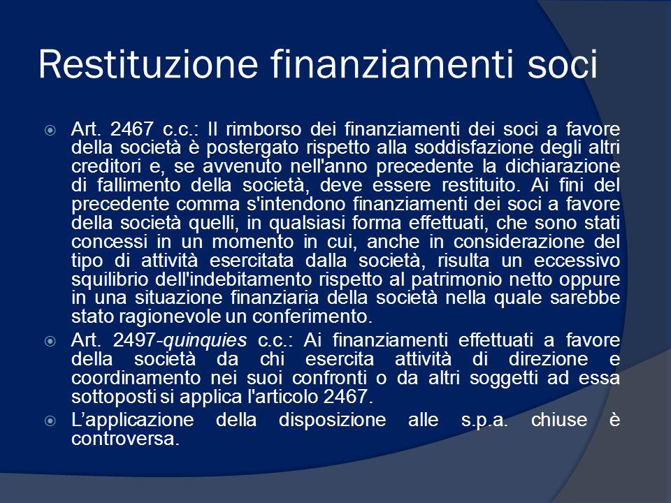 Restituzione finanziamenti soci  Art. 2467 c.c.: Il rimborso dei finanziamenti dei soci a favore della società è postergato rispetto alla soddisfazio