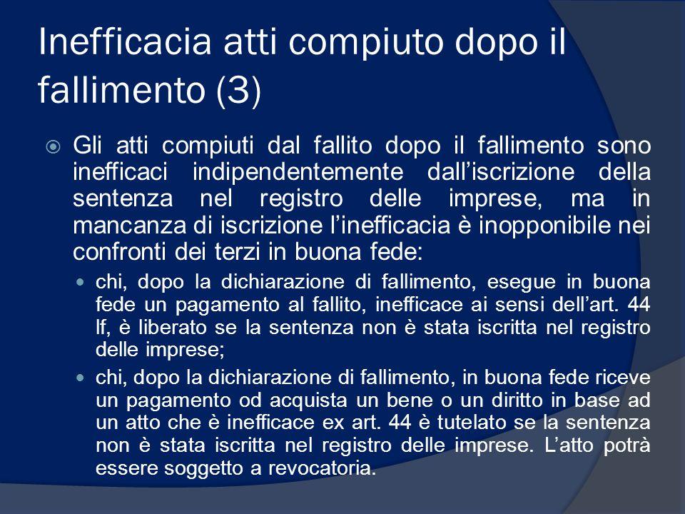 Inefficacia atti compiuto dopo il fallimento (3)  Gli atti compiuti dal fallito dopo il fallimento sono inefficaci indipendentemente dall'iscrizione