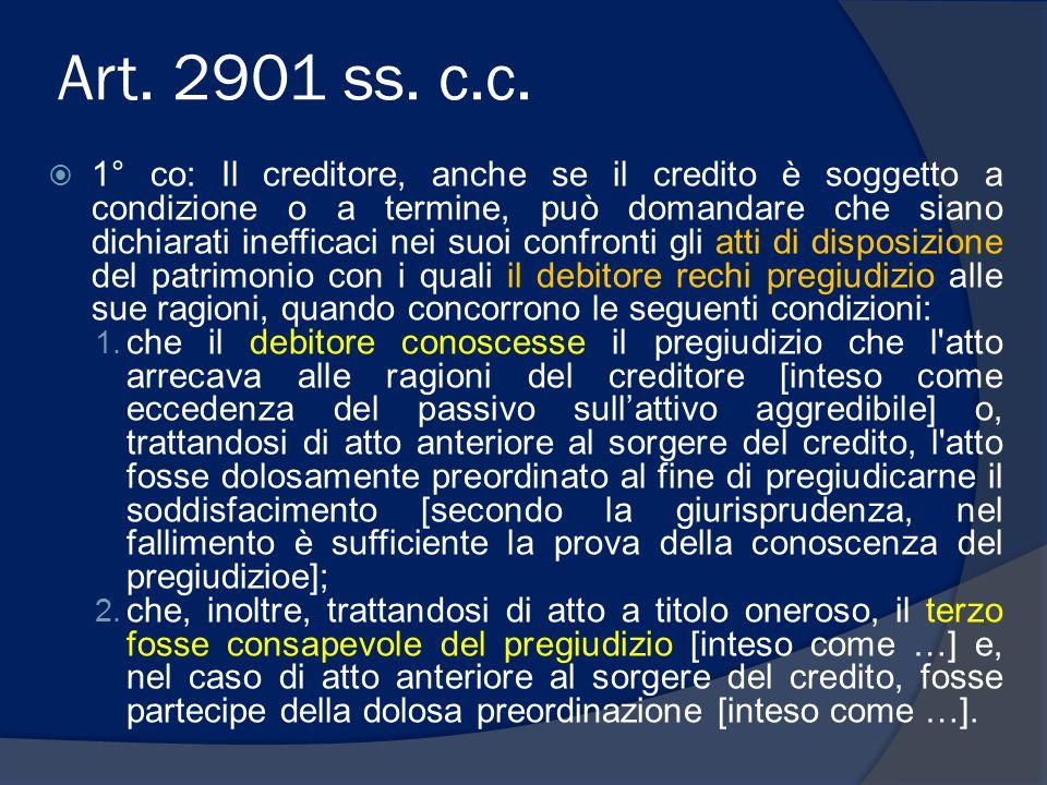 Art. 2901 ss. c.c.  1° co: Il creditore, anche se il credito è soggetto a condizione o a termine, può domandare che siano dichiarati inefficaci nei s
