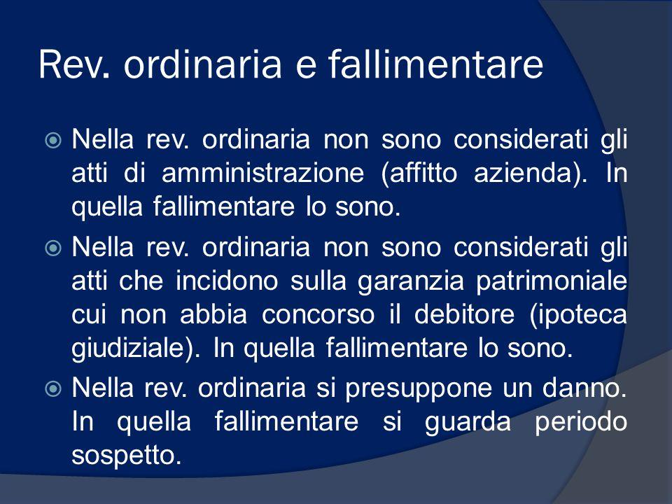 Rev. ordinaria e fallimentare  Nella rev. ordinaria non sono considerati gli atti di amministrazione (affitto azienda). In quella fallimentare lo son