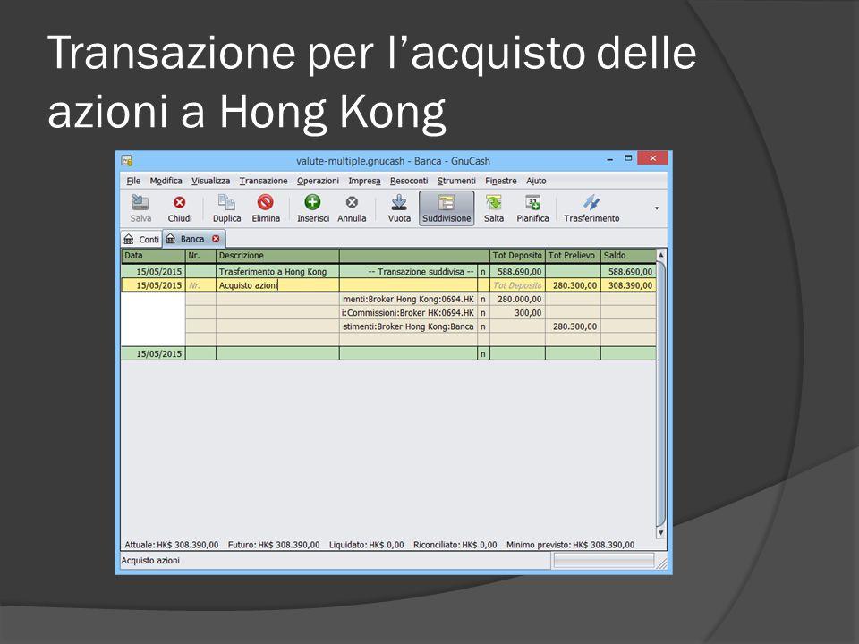 Transazione per l'acquisto delle azioni a Hong Kong