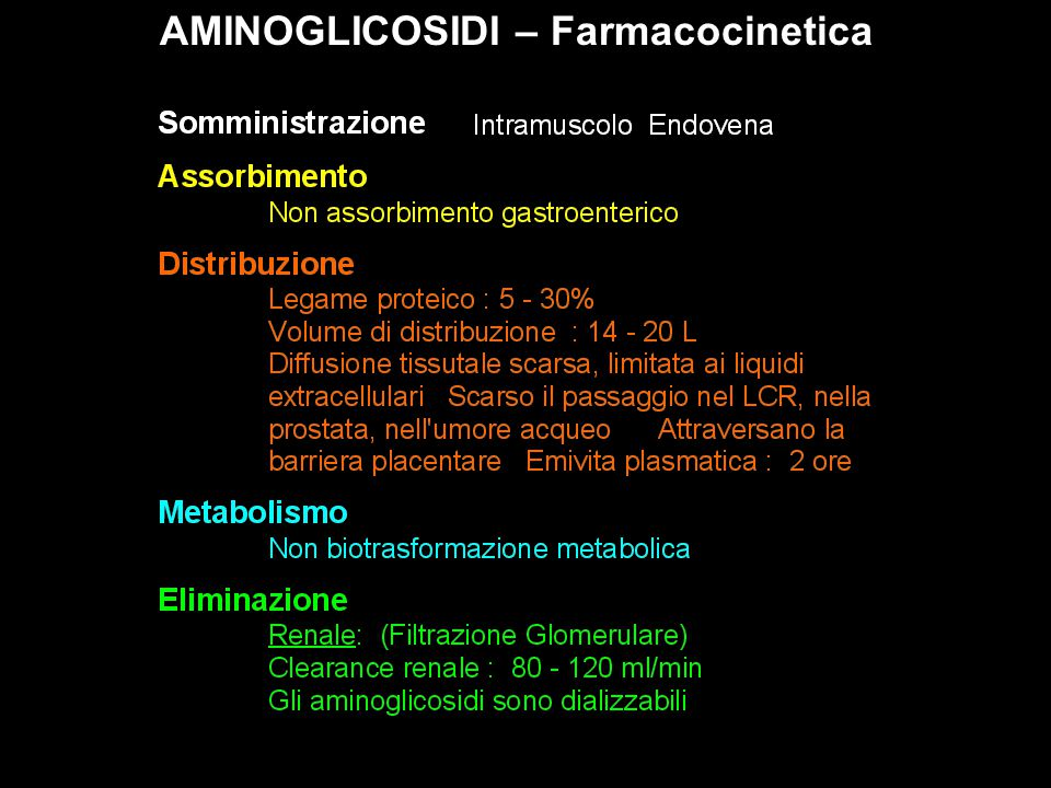 AMINOGLICOSIDI – Farmacocinetica