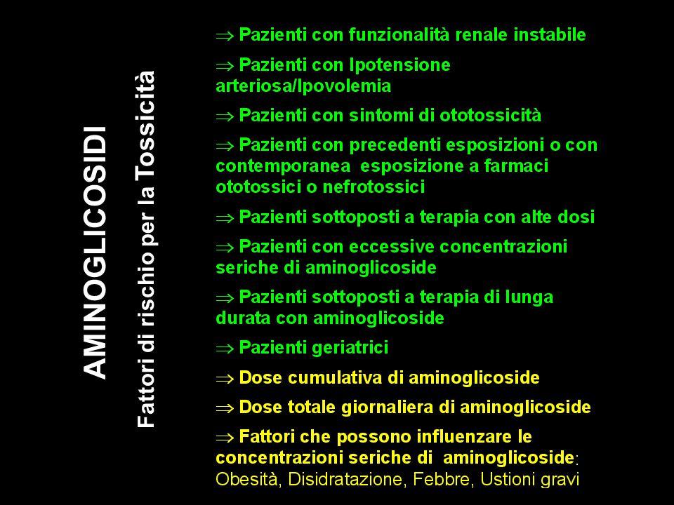 AMINOGLICOSIDI Fattori di rischio per la Tossicità