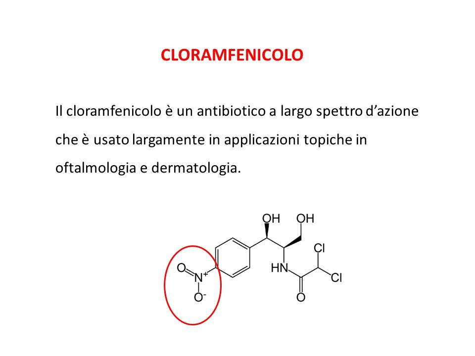 CLORAMFENICOLO Il cloramfenicolo è un antibiotico a largo spettro d'azione che è usato largamente in applicazioni topiche in oftalmologia e dermatolog