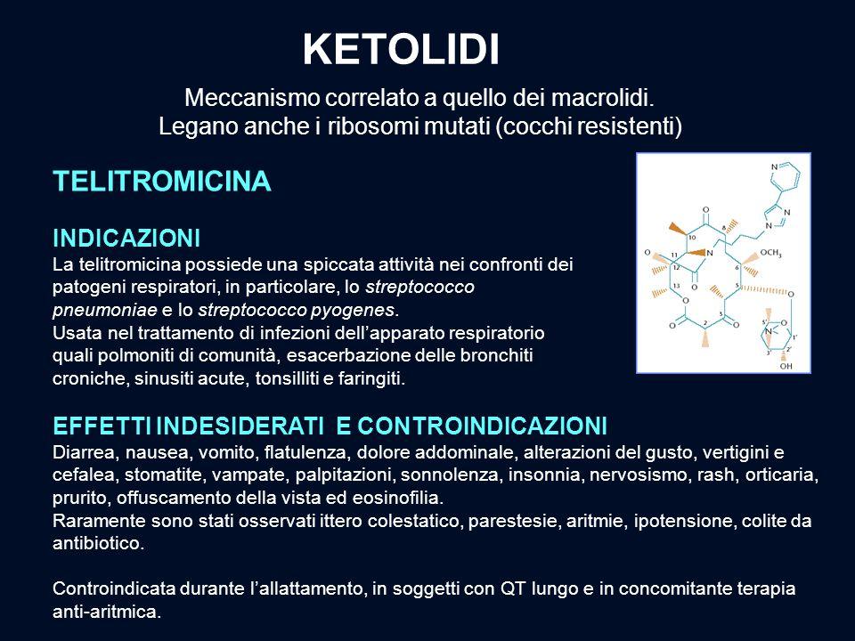 KETOLIDI INDICAZIONI La telitromicina possiede una spiccata attività nei confronti dei patogeni respiratori, in particolare, lo streptococco pneumonia