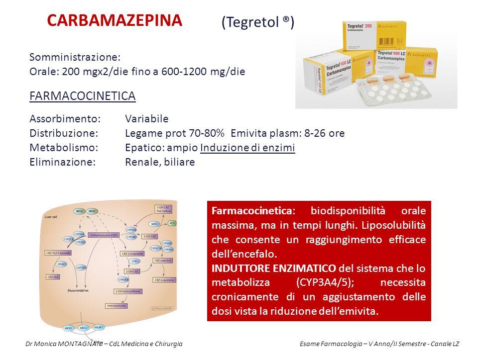 CARBAMAZEPINA (Tegretol ®) FARMACOCINETICA Assorbimento:Variabile Distribuzione: Legame prot 70-80% Emivita plasm: 8-26 ore Metabolismo:Epatico: ampio