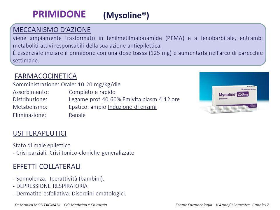 PRIMIDONE (Mysoline®) FARMACOCINETICA Somministrazione: Orale: 10-20 mg/kg/die Assorbimento: Completo e rapido Distribuzione: Legame prot 40-60% Emivi