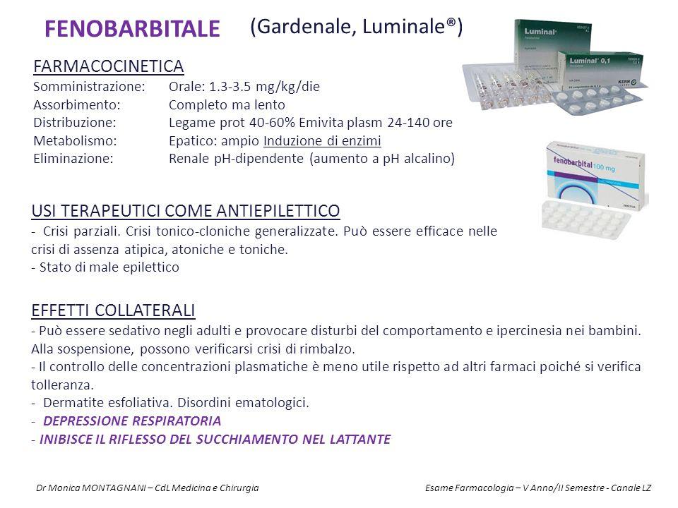 FENOBARBITALE (Gardenale, Luminale®) FARMACOCINETICA Somministrazione:Orale: 1.3-3.5 mg/kg/die Assorbimento:Completo ma lento Distribuzione:Legame pro