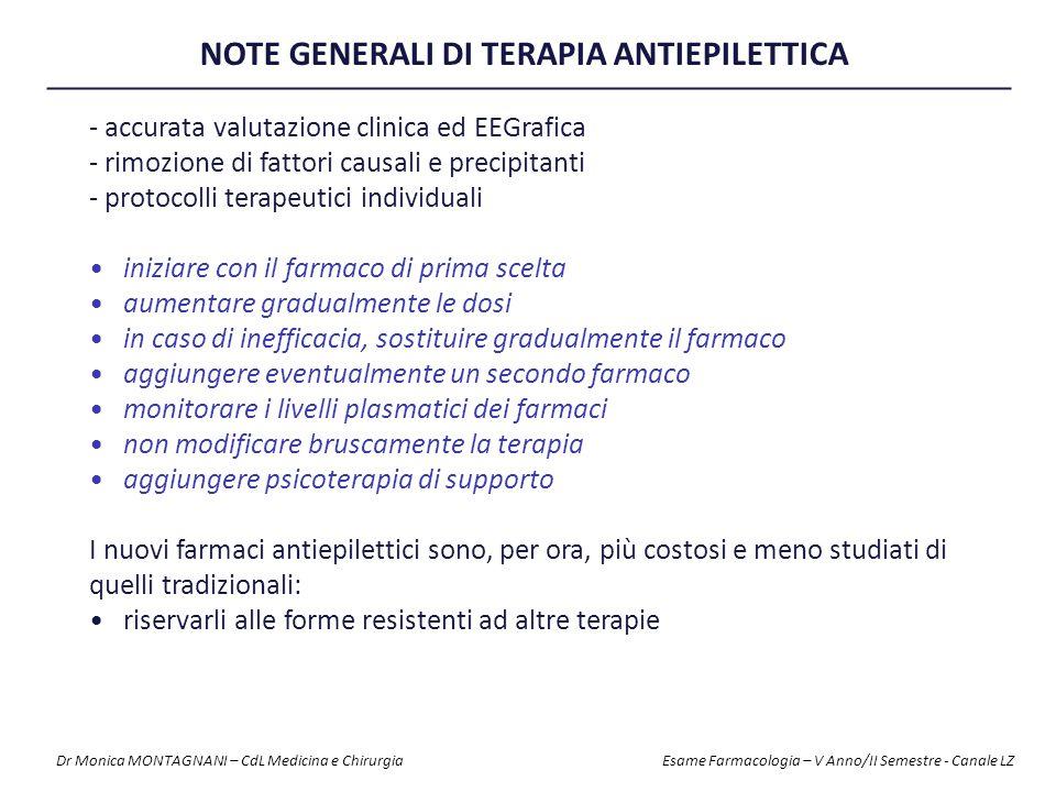 NOTE GENERALI DI TERAPIA ANTIEPILETTICA - accurata valutazione clinica ed EEGrafica - rimozione di fattori causali e precipitanti - protocolli terapeu