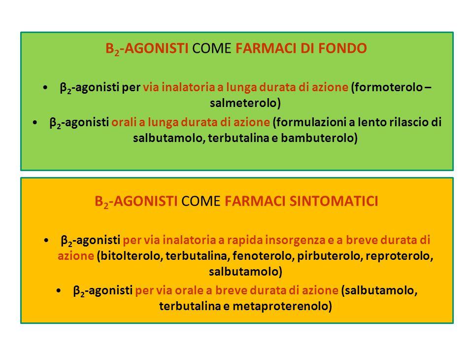 Β 2 -AGONISTI COME FARMACI DI FONDO β 2 -agonisti per via inalatoria a lunga durata di azione (formoterolo – salmeterolo) β 2 -agonisti orali a lunga