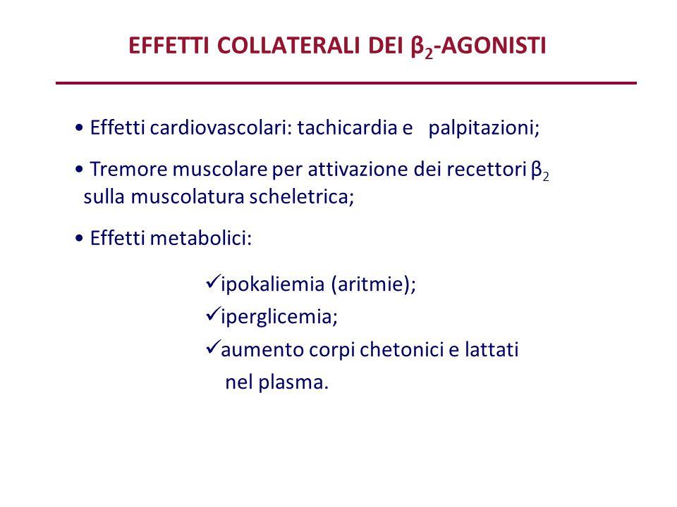 EFFETTI COLLATERALI DEI β 2 -AGONISTI ipokaliemia (aritmie); iperglicemia; aumento corpi chetonici e lattati nel plasma. Effetti cardiovascolari: tach