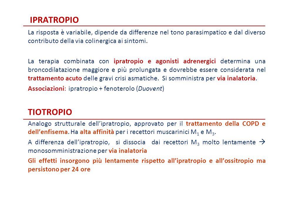 IPRATROPIO La risposta è variabile, dipende da differenze nel tono parasimpatico e dal diverso contributo della via colinergica ai sintomi. La terapia