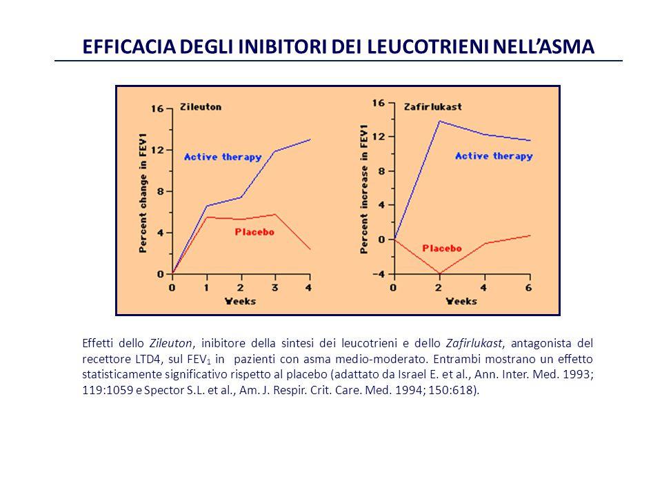 Effetti dello Zileuton, inibitore della sintesi dei leucotrieni e dello Zafirlukast, antagonista del recettore LTD4, sul FEV 1 in pazienti con asma me