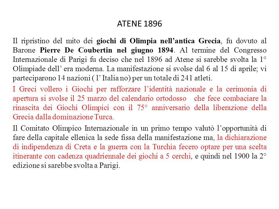 ATENE 1896 Il ripristino del mito dei giochi di Olimpia nell'antica Grecia, fu dovuto al Barone Pierre De Coubertin nel giugno 1894.