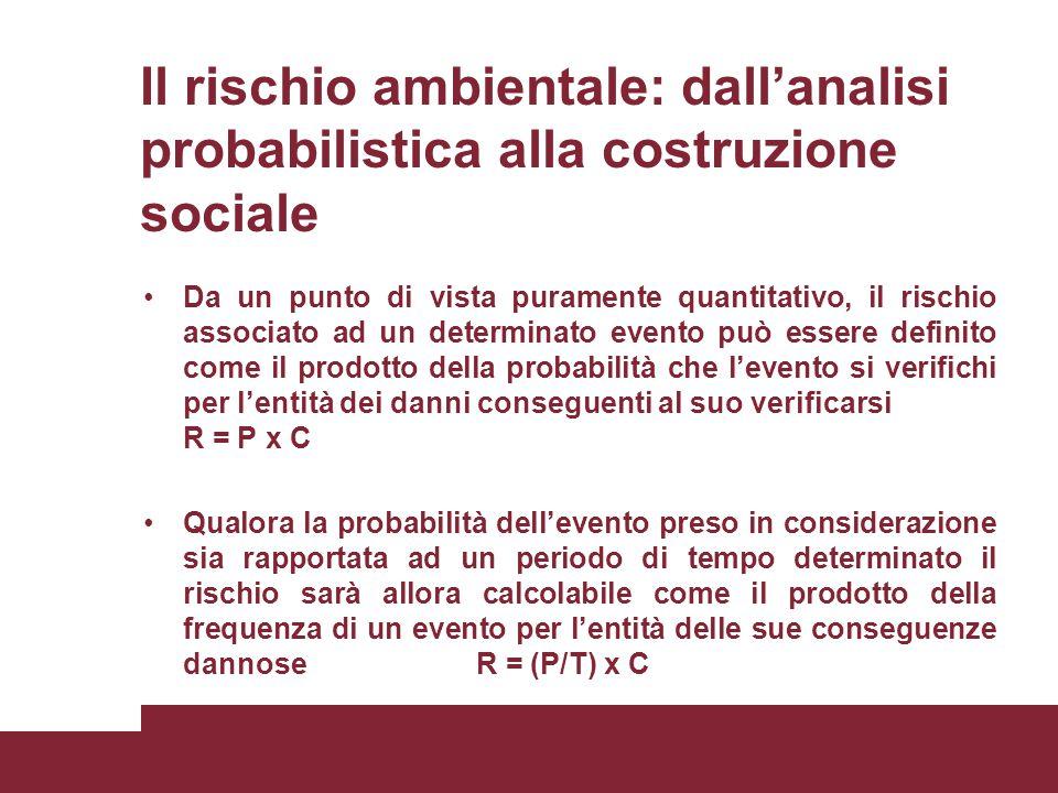 Il rischio ambientale: dall'analisi probabilistica alla costruzione sociale Da un punto di vista puramente quantitativo, il rischio associato ad un de
