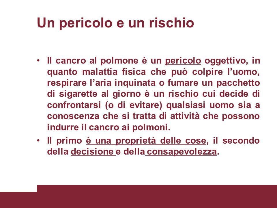 Un pericolo e un rischio Il cancro al polmone è un pericolo oggettivo, in quanto malattia fisica che può colpire l'uomo, respirare l'aria inquinata o