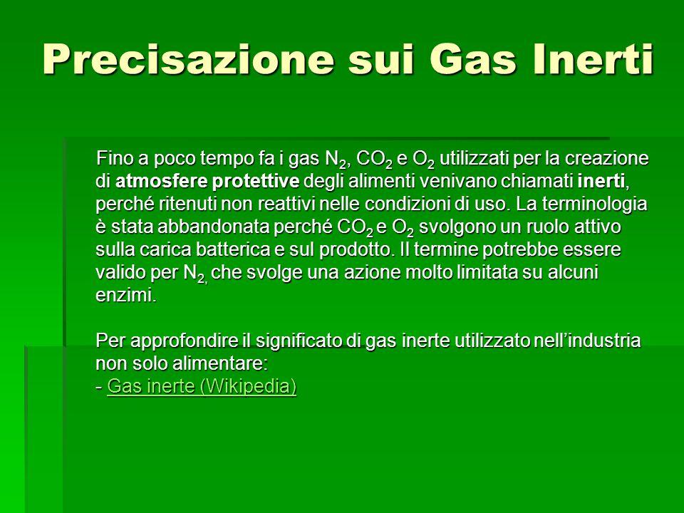 Precisazione sui Gas Inerti Fino a poco tempo fa i gas N 2, CO 2 e O 2 utilizzati per la creazione di atmosfere protettive degli alimenti venivano chi
