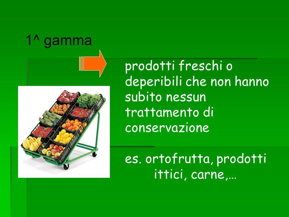 1^ gamma prodotti freschi o deperibili che non hanno subito nessun trattamento di conservazione es. ortofrutta, prodotti ittici, carne,…