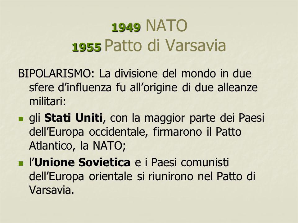 1949 1955 1949 NATO 1955 Patto di Varsavia BIPOLARISMO: La divisione del mondo in due sfere d'influenza fu all'origine di due alleanze militari: gli S