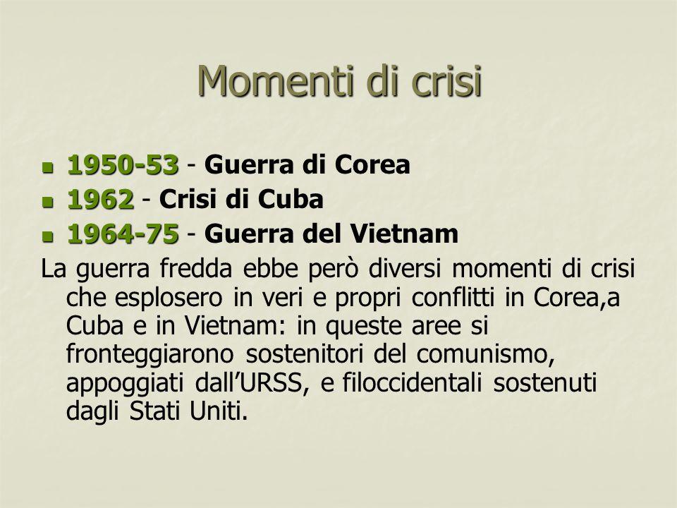Momenti di crisi 1950-53 1950-53 - Guerra di Corea 1962 1962 - Crisi di Cuba 1964-75 1964-75 - Guerra del Vietnam La guerra fredda ebbe però diversi m