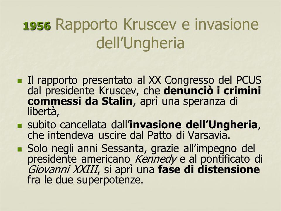 1956 1956 Rapporto Kruscev e invasione dell'Ungheria Il rapporto presentato al XX Congresso del PCUS dal presidente Kruscev, che denunciò i crimini co