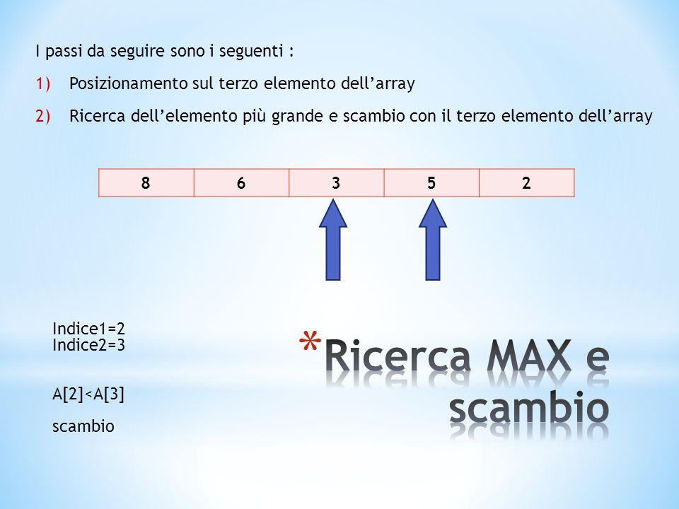 86352 I passi da seguire sono i seguenti : 1)Posizionamento sul terzo elemento dell'array 2)Ricerca dell'elemento più grande e scambio con il terzo elemento dell'array Indice1=2 Indice2=3 A[2]<A[3] scambio