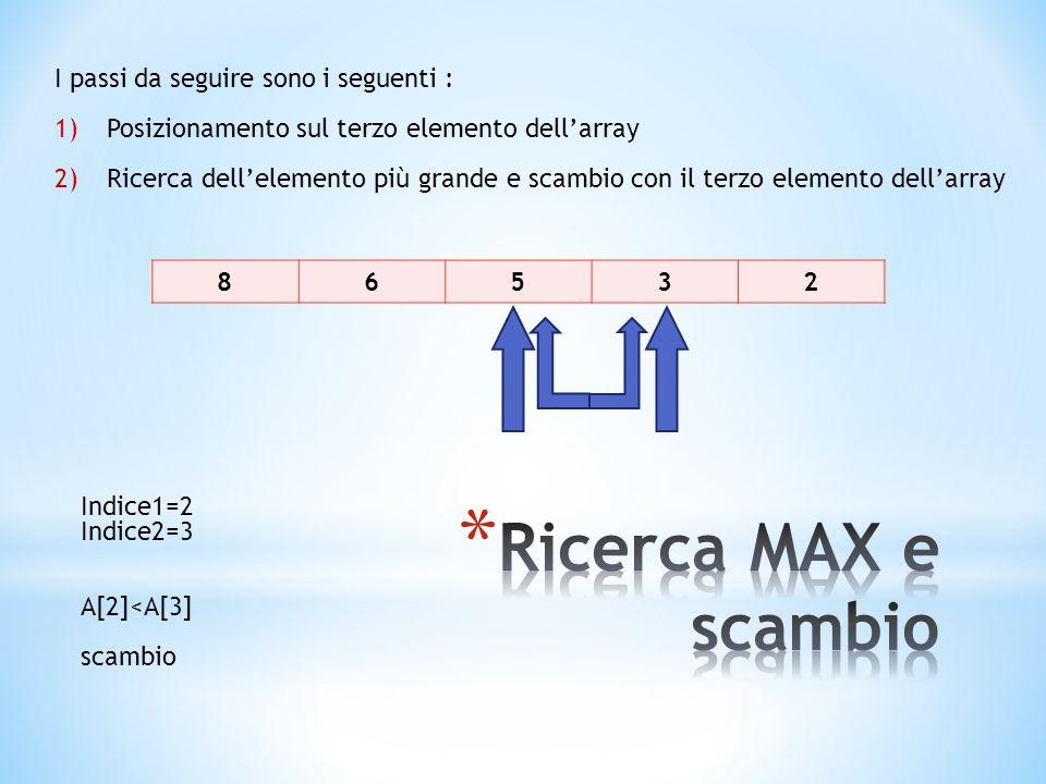 86532 I passi da seguire sono i seguenti : 1)Posizionamento sul terzo elemento dell'array 2)Ricerca dell'elemento più grande e scambio con il terzo elemento dell'array Indice1=2 Indice2=3 A[2]<A[3] scambio