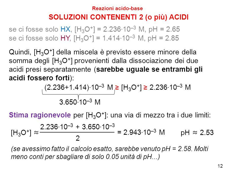 12 SOLUZIONI CONTENENTI 2 (o più) ACIDI Reazioni acido-base Quindi, [H 3 O + ] della miscela è previsto essere minore della somma degli [H 3 O + ] pro