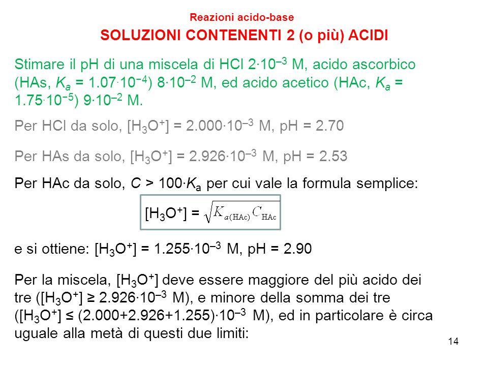 14 SOLUZIONI CONTENENTI 2 (o più) ACIDI Reazioni acido-base Stimare il pH di una miscela di HCl 2 · 10 –3 M, acido ascorbico (HAs, K a = 1.07. 10 −4 )