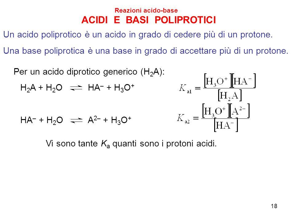 ACIDI E BASI POLIPROTICI Un acido poliprotico è un acido in grado di cedere più di un protone. Una base poliprotica è una base in grado di accettare p