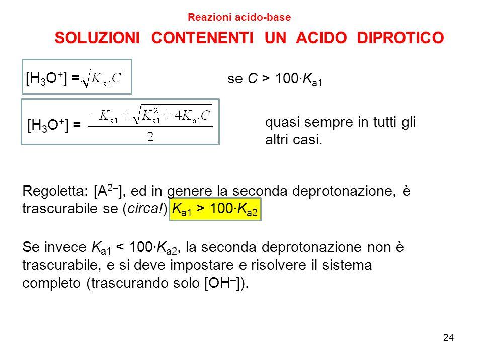 SOLUZIONI CONTENENTI UN ACIDO DIPROTICO Reazioni acido-base 24 [H 3 O + ] = se C > 100 · K a1 [H 3 O + ] = quasi sempre in tutti gli altri casi. Regol