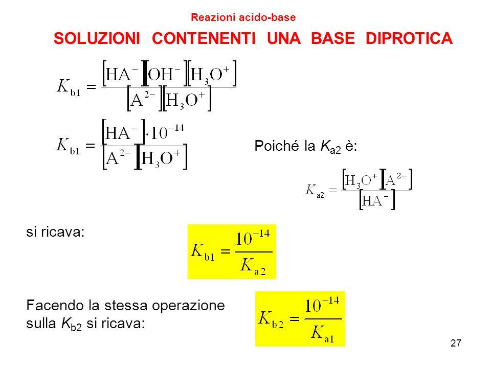 27 SOLUZIONI CONTENENTI UNA BASE DIPROTICA Reazioni acido-base Poiché la K a2 è: si ricava: Facendo la stessa operazione sulla K b2 si ricava:
