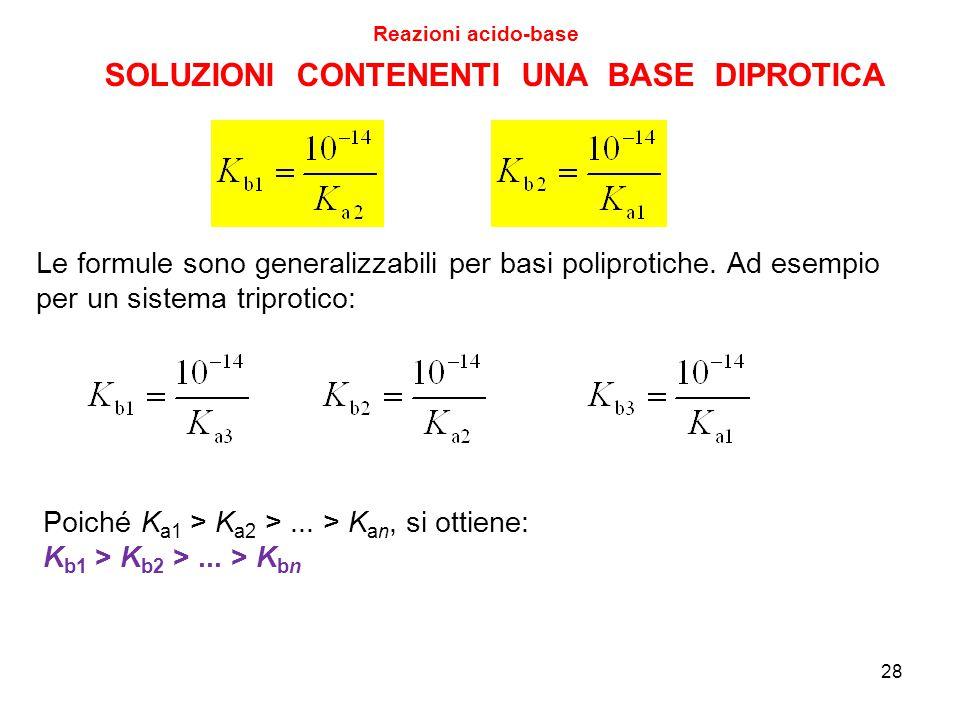 28 SOLUZIONI CONTENENTI UNA BASE DIPROTICA Reazioni acido-base Le formule sono generalizzabili per basi poliprotiche. Ad esempio per un sistema tripro