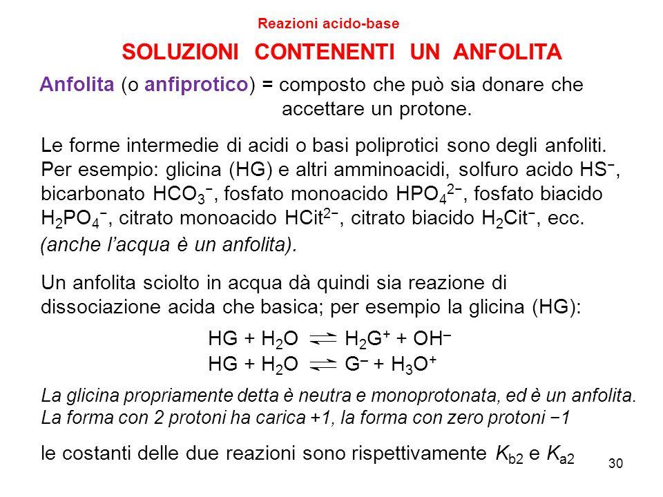 30 SOLUZIONI CONTENENTI UN ANFOLITA Reazioni acido-base Anfolita (o anfiprotico) = composto che può sia donare che accettare un protone. Le forme inte