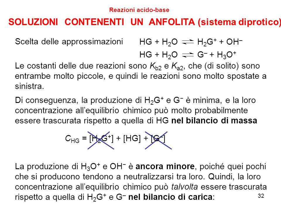 32 Reazioni acido-base HG + H 2 O H 2 G + + OH – HG + H 2 O G – + H 3 O + Scelta delle approssimazioni Le costanti delle due reazioni sono K b2 e K a2