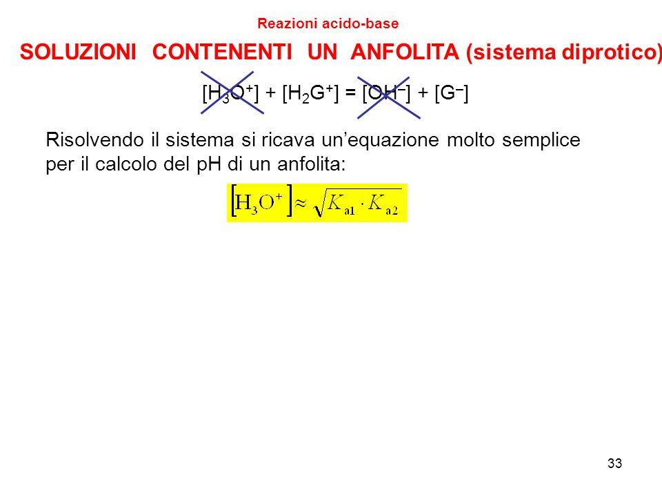 33 Reazioni acido-base [H 3 O + ] + [H 2 G + ] = [OH – ] + [G – ] SOLUZIONI CONTENENTI UN ANFOLITA (sistema diprotico) Risolvendo il sistema si ricava