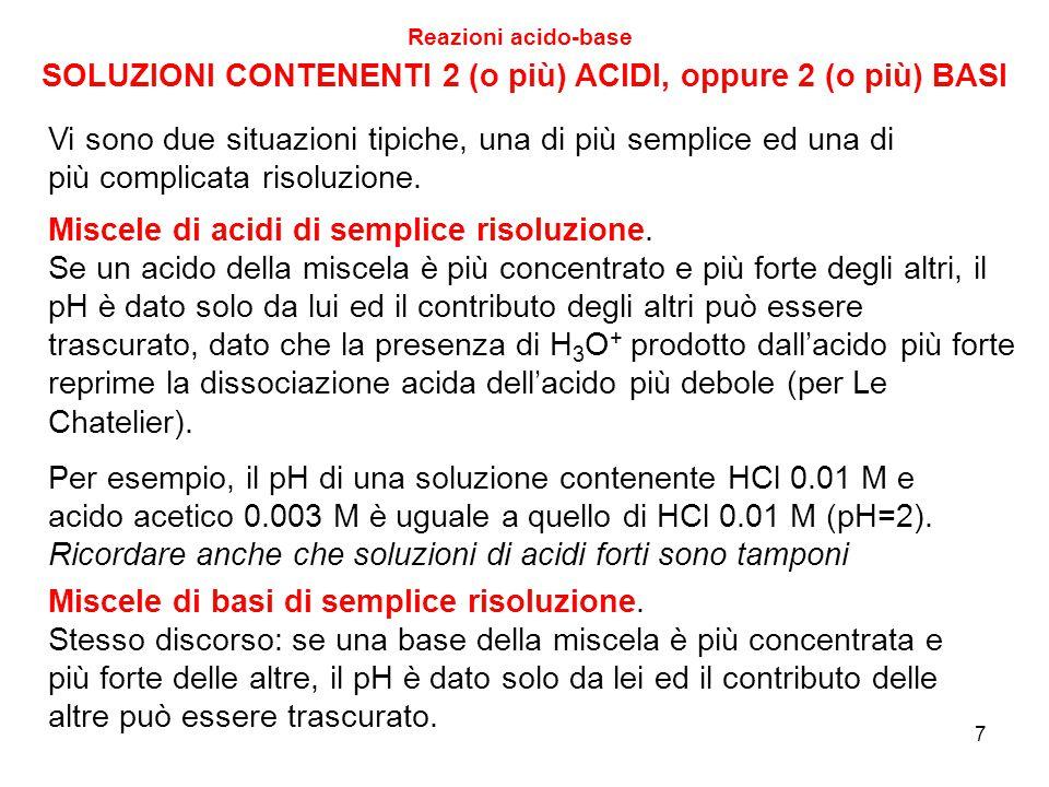 SOLUZIONI CONTENENTI 2 (o più) ACIDI, oppure 2 (o più) BASI Reazioni acido-base Miscele di acidi di semplice risoluzione. Se un acido della miscela è