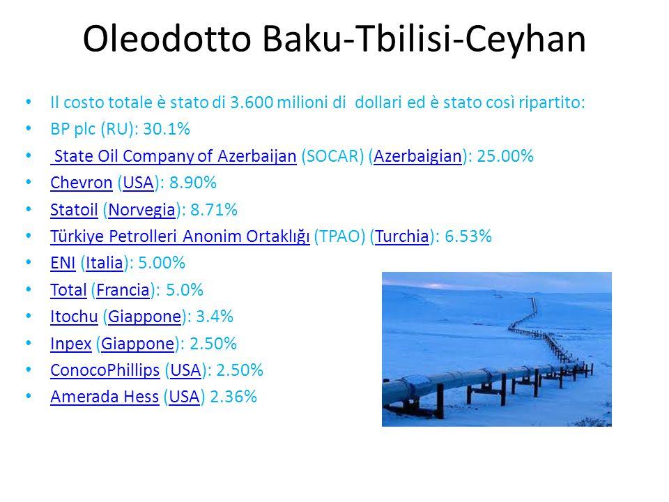 Il costo totale è stato di 3.600 milioni di dollari ed è stato così ripartito: BP plc (RU): 30.1% State Oil Company of Azerbaijan (SOCAR) (Azerbaigian