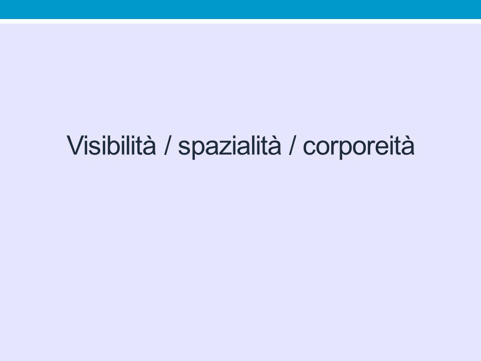 Visibilità / spazialità / corporeità