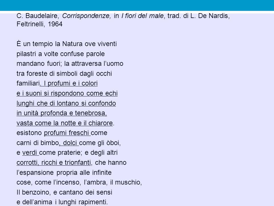 C. Baudelaire, Corrispondenze, in I fiori del male, trad. di L. De Nardis, Feltrinelli, 1964 È un tempio la Natura ove viventi pilastri a volte confus