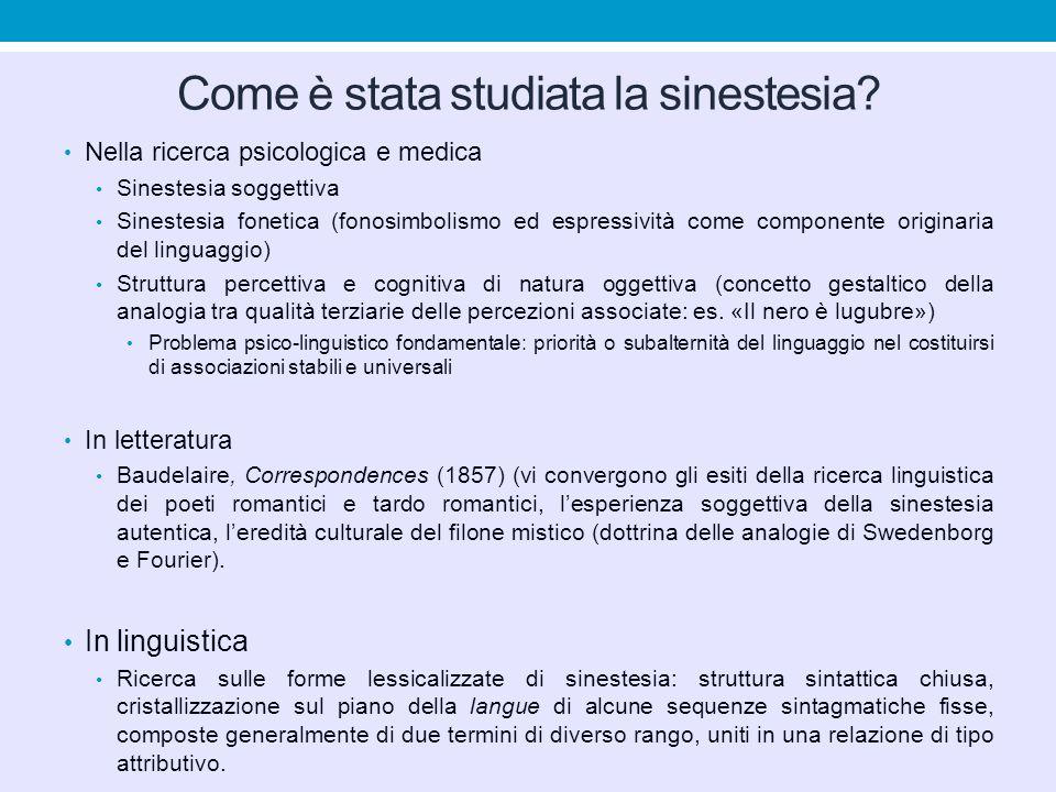 Come è stata studiata la sinestesia? Nella ricerca psicologica e medica Sinestesia soggettiva Sinestesia fonetica (fonosimbolismo ed espressività come
