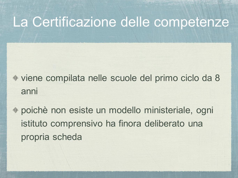 La Certificazione delle competenze viene compilata nelle scuole del primo ciclo da 8 anni poichè non esiste un modello ministeriale, ogni istituto comprensivo ha finora deliberato una propria scheda